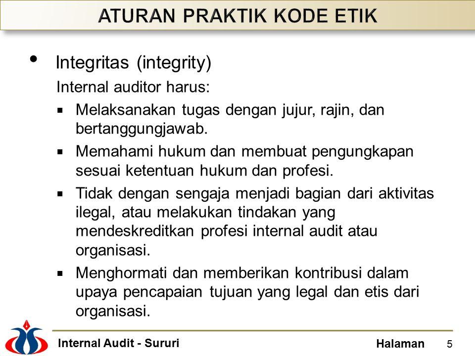 Internal Audit - Sururi Halaman Integritas (integrity) Internal auditor harus:  Melaksanakan tugas dengan jujur, rajin, dan bertanggungjawab.  Memah