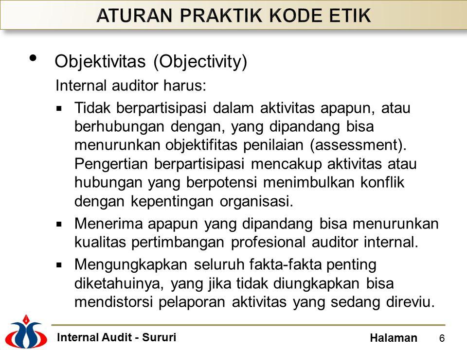 Internal Audit - Sururi Halaman Objektivitas (Objectivity) Internal auditor harus:  Tidak berpartisipasi dalam aktivitas apapun, atau berhubungan den
