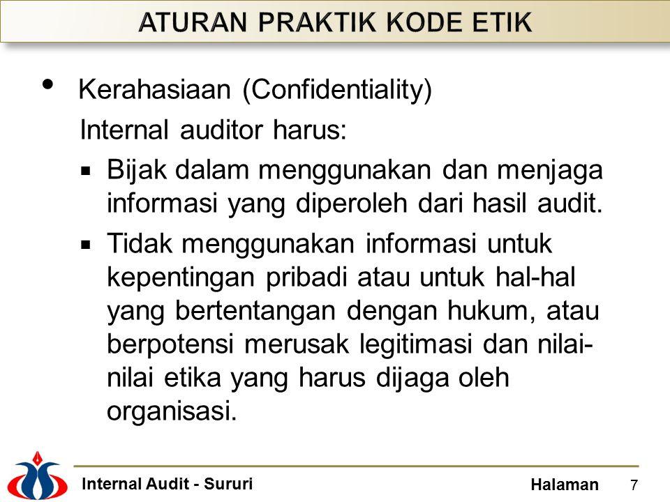 Internal Audit - Sururi Halaman Kerahasiaan (Confidentiality) Internal auditor harus:  Bijak dalam menggunakan dan menjaga informasi yang diperoleh d