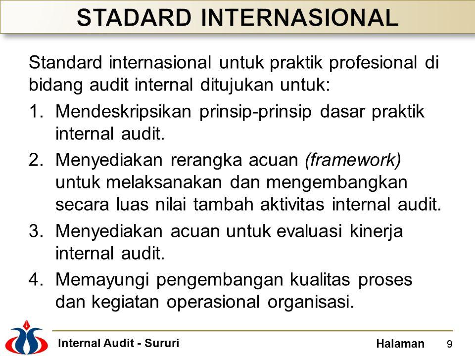 Internal Audit - Sururi Halaman Standard internasional untuk praktik profesional di bidang audit internal ditujukan untuk: 1.Mendeskripsikan prinsip-p