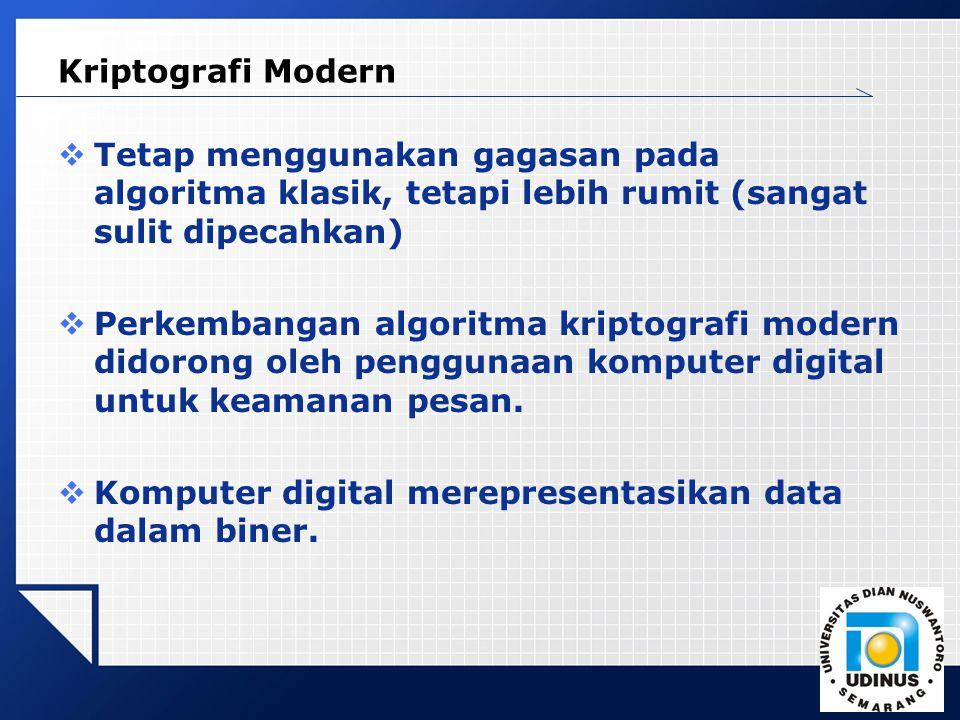 LOGO Kriptografi Modern  Tetap menggunakan gagasan pada algoritma klasik, tetapi lebih rumit (sangat sulit dipecahkan)  Perkembangan algoritma kriptografi modern didorong oleh penggunaan komputer digital untuk keamanan pesan.