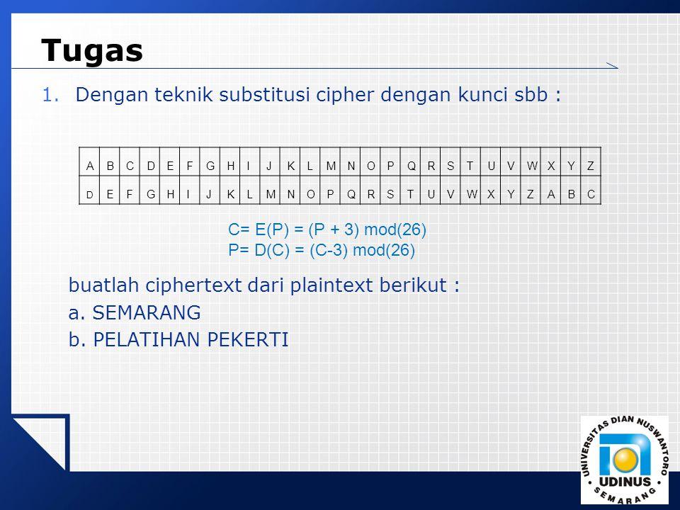 LOGO Tugas 1.Dengan teknik substitusi cipher dengan kunci sbb : buatlah ciphertext dari plaintext berikut : a. SEMARANG b. PELATIHAN PEKERTI ABCDEFGHI
