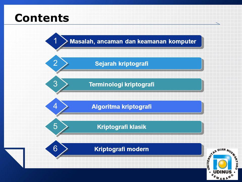 LOGO Contents Masalah, ancaman dan keamanan komputer 1 Sejarah kriptografi 2 Algoritma kriptografi 4 Kriptografi klasik 5 Kriptografi modern 6 Termino