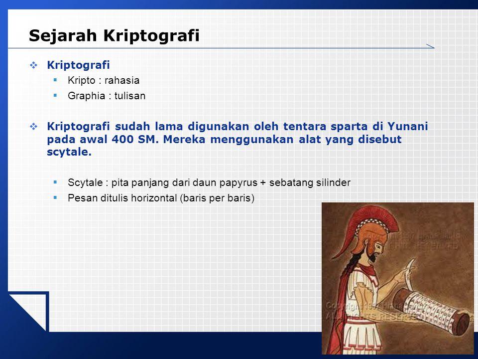LOGO Sejarah Kriptografi  Kriptografi  Kripto : rahasia  Graphia : tulisan  Kriptografi sudah lama digunakan oleh tentara sparta di Yunani pada awal 400 SM.