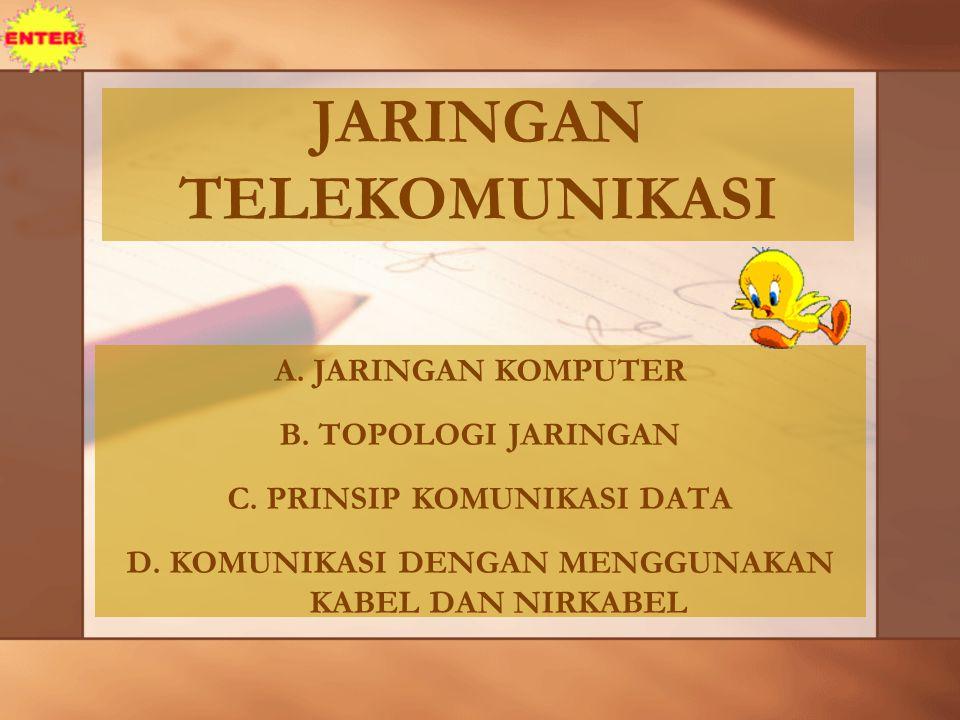 JARINGAN TELEKOMUNIKASI A.JARINGAN KOMPUTER B. TOPOLOGI JARINGAN C.