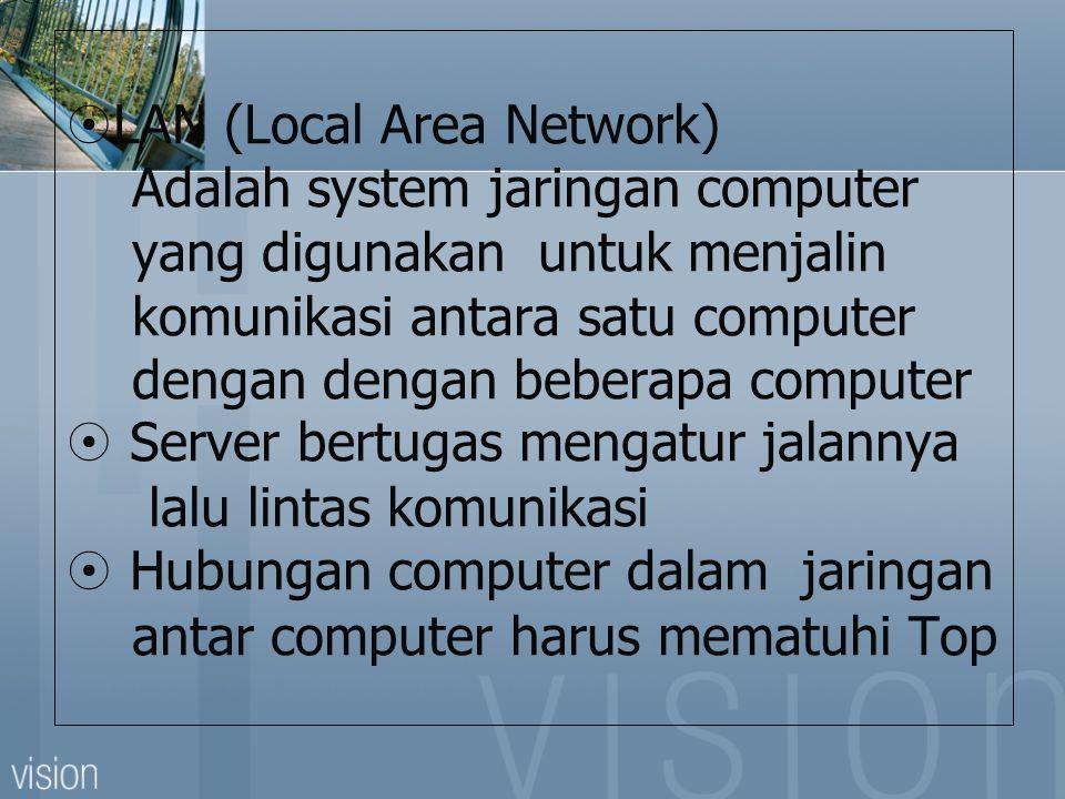  LAN (Local Area Network) Adalah system jaringan computer yang digunakan untuk menjalin komunikasi antara satu computer dengan dengan beberapa computer  Server bertugas mengatur jalannya lalu lintas komunikasi  Hubungan computer dalam jaringan antar computer harus mematuhi Top