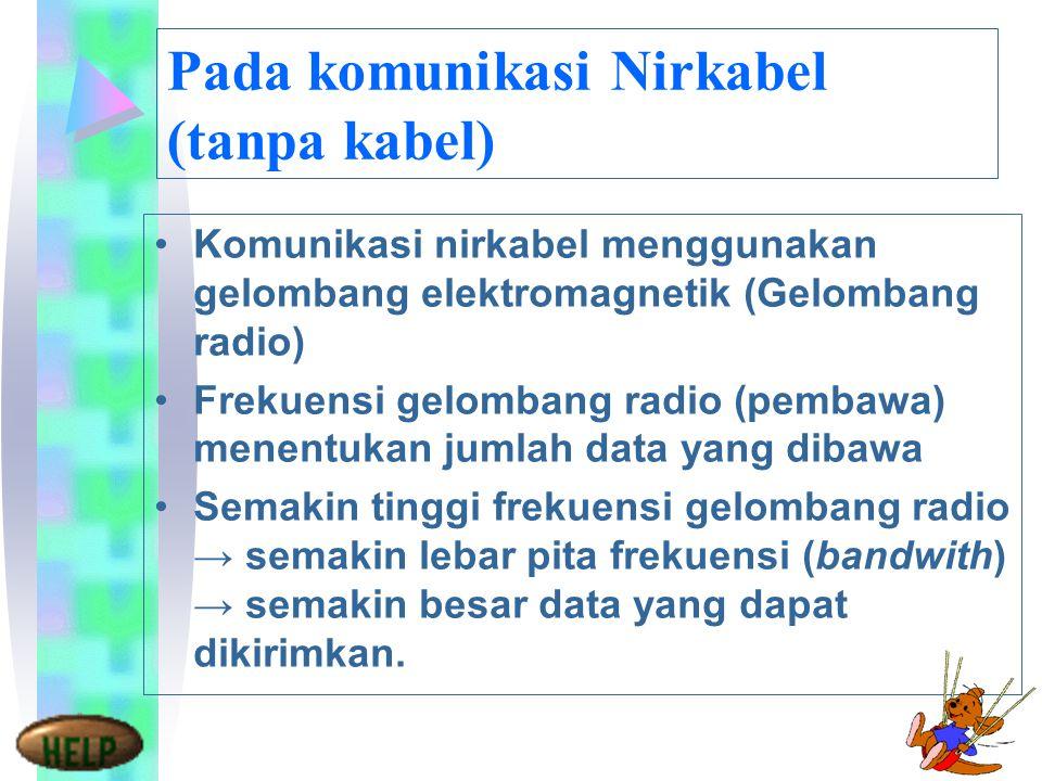 Pada komunikasi Nirkabel (tanpa kabel) Komunikasi nirkabel menggunakan gelombang elektromagnetik (Gelombang radio) Frekuensi gelombang radio (pembawa) menentukan jumlah data yang dibawa Semakin tinggi frekuensi gelombang radio → semakin lebar pita frekuensi (bandwith) → semakin besar data yang dapat dikirimkan.