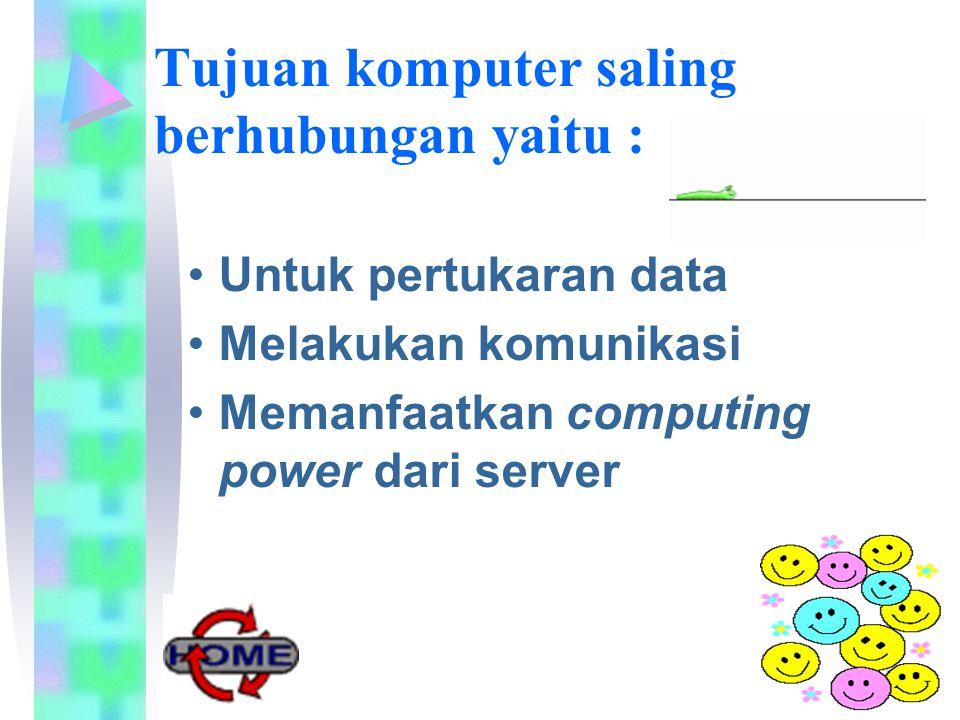 Tujuan komputer saling berhubungan yaitu : Untuk pertukaran data Melakukan komunikasi Memanfaatkan computing power dari server