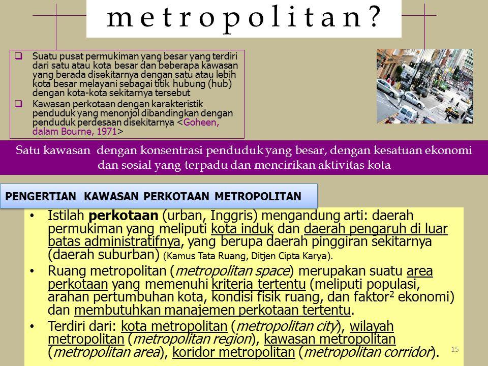 Istilah perkotaan (urban, Inggris) mengandung arti: daerah permukiman yang meliputi kota induk dan daerah pengaruh di luar batas administratifnya, yang berupa daerah pinggiran sekitarnya (daerah suburban) (Kamus Tata Ruang, Ditjen Cipta Karya).