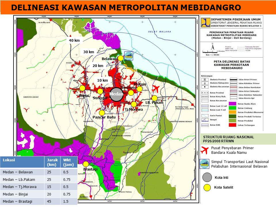 DELINEASI KAWASAN METROPOLITAN MEBIDANGRO 10 km 20 km 30 km 40 km Pusat Penyebaran Primer Bandara Kuala Namu Simpul Transportasi Laut Nasional Pelabuh