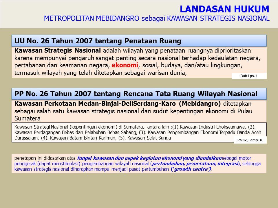 Kawasan Strategis Nasional adalah wilayah yang penataan ruangnya diprioritaskan karena mempunyai pengaruh sangat penting secara nasional terhadap kedaulatan negara, pertahanan dan keamanan negara, ekonomi, sosial, budaya, dan/atau lingkungan, termasuk wilayah yang telah ditetapkan sebagai warisan dunia, Kawasan Perkotaan Medan-Binjai-DeliSerdang-Karo (Mebidangro) ditetapkan sebagai salah satu kawasan strategis nasional dari sudut kepentingan ekonomi di Pulau Sumatera LANDASAN HUKUM METROPOLITAN MEBIDANGRO sebagai KAWASAN STRATEGIS NASIONAL penetapan ini didasarkan atas fungsi kawasan dan aspek kegiatan ekonomi yang diandalkan sebagai motor penggerak (dapat menstimulasi) pengembangan wilayah nasional (pertumbuhan, pemerataan, integrasi); sehingga kawasan strategis nasional diharapkan mampu menjadi pusat pertumbuhan ('growth centre').