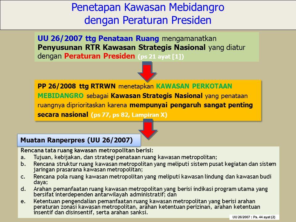 Penetapan Kawasan Mebidangro dengan Peraturan Presiden UU 26/2007 ttg Penataan Ruang mengamanatkan Penyusunan RTR Kawasan Strategis Nasional yang diat