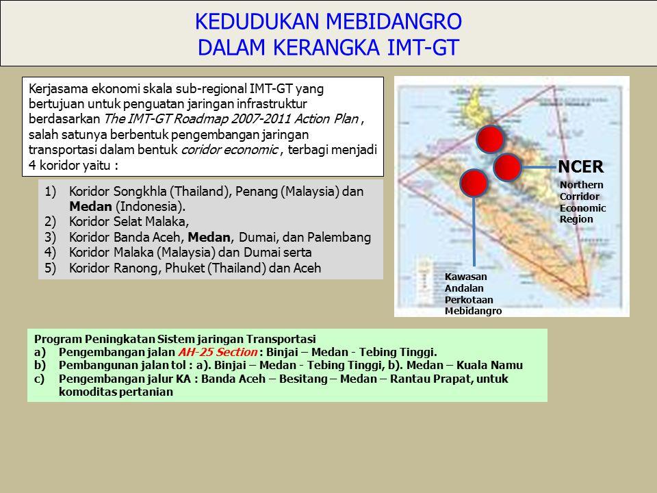 Kerjasama ekonomi skala sub-regional IMT-GT yang bertujuan untuk penguatan jaringan infrastruktur berdasarkan The IMT-GT Roadmap 2007-2011 Action Plan, salah satunya berbentuk pengembangan jaringan transportasi dalam bentuk coridor economic, terbagi menjadi 4 koridor yaitu : 1)Koridor Songkhla (Thailand), Penang (Malaysia) dan Medan (Indonesia).