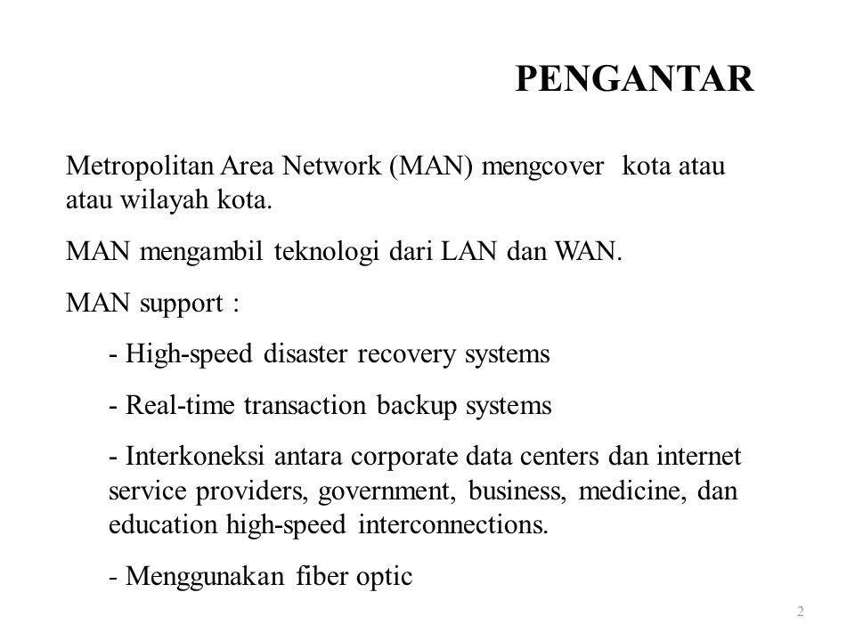 2 Metropolitan Area Network (MAN) mengcover kota atau atau wilayah kota. MAN mengambil teknologi dari LAN dan WAN. MAN support : - High-speed disaster