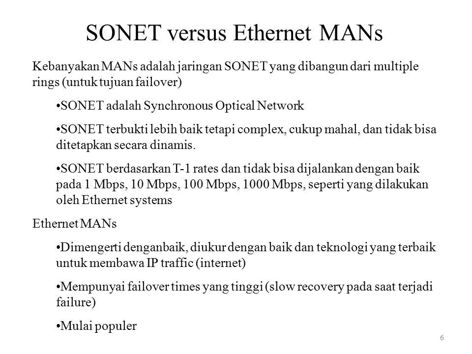 6 SONET versus Ethernet MANs Kebanyakan MANs adalah jaringan SONET yang dibangun dari multiple rings (untuk tujuan failover) SONET adalah Synchronous Optical Network SONET terbukti lebih baik tetapi complex, cukup mahal, dan tidak bisa ditetapkan secara dinamis.
