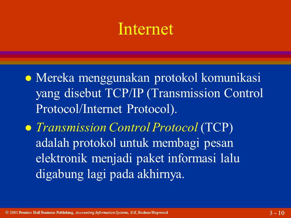  2001 Prentice Hall Business Publishing, Accounting Information Systems, 8/E, Bodnar/Hopwood 3 - 10 Internet l Mereka menggunakan protokol komunikasi yang disebut TCP/IP (Transmission Control Protocol/Internet Protocol).