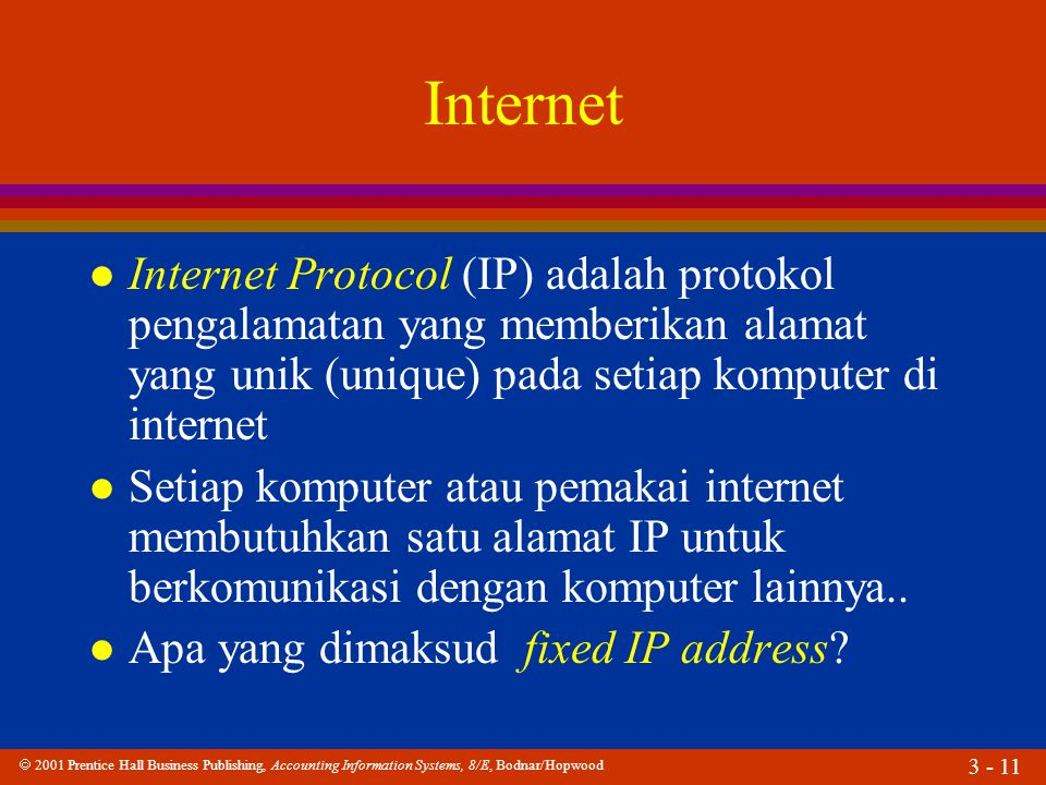  2001 Prentice Hall Business Publishing, Accounting Information Systems, 8/E, Bodnar/Hopwood 3 - 11 Internet l Internet Protocol (IP) adalah protokol