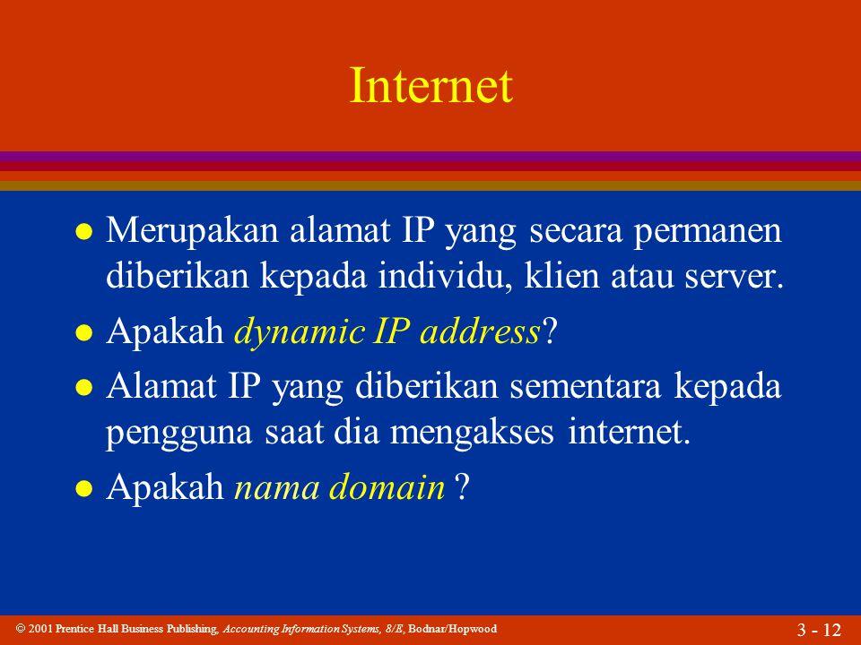  2001 Prentice Hall Business Publishing, Accounting Information Systems, 8/E, Bodnar/Hopwood 3 - 12 Internet l Merupakan alamat IP yang secara permanen diberikan kepada individu, klien atau server.