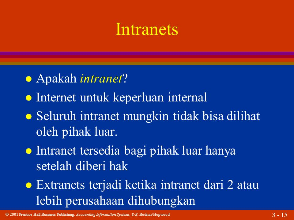  2001 Prentice Hall Business Publishing, Accounting Information Systems, 8/E, Bodnar/Hopwood 3 - 15 Intranets l Apakah intranet? l Internet untuk kep