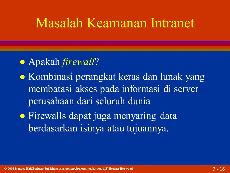  2001 Prentice Hall Business Publishing, Accounting Information Systems, 8/E, Bodnar/Hopwood 3 - 16 Masalah Keamanan Intranet l Apakah firewall? l Ko