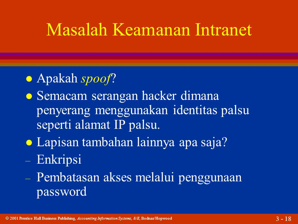  2001 Prentice Hall Business Publishing, Accounting Information Systems, 8/E, Bodnar/Hopwood 3 - 18 Masalah Keamanan Intranet l Apakah spoof? l Semac