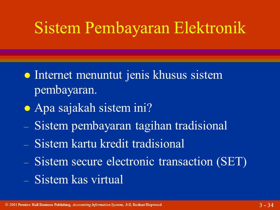  2001 Prentice Hall Business Publishing, Accounting Information Systems, 8/E, Bodnar/Hopwood 3 - 34 Sistem Pembayaran Elektronik l Internet menuntut jenis khusus sistem pembayaran.