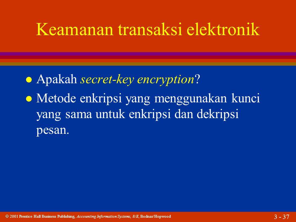  2001 Prentice Hall Business Publishing, Accounting Information Systems, 8/E, Bodnar/Hopwood 3 - 37 Keamanan transaksi elektronik l Apakah secret-key encryption.