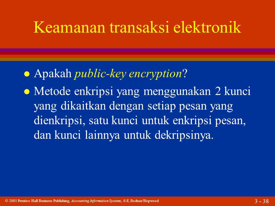  2001 Prentice Hall Business Publishing, Accounting Information Systems, 8/E, Bodnar/Hopwood 3 - 38 Keamanan transaksi elektronik l Apakah public-key encryption.