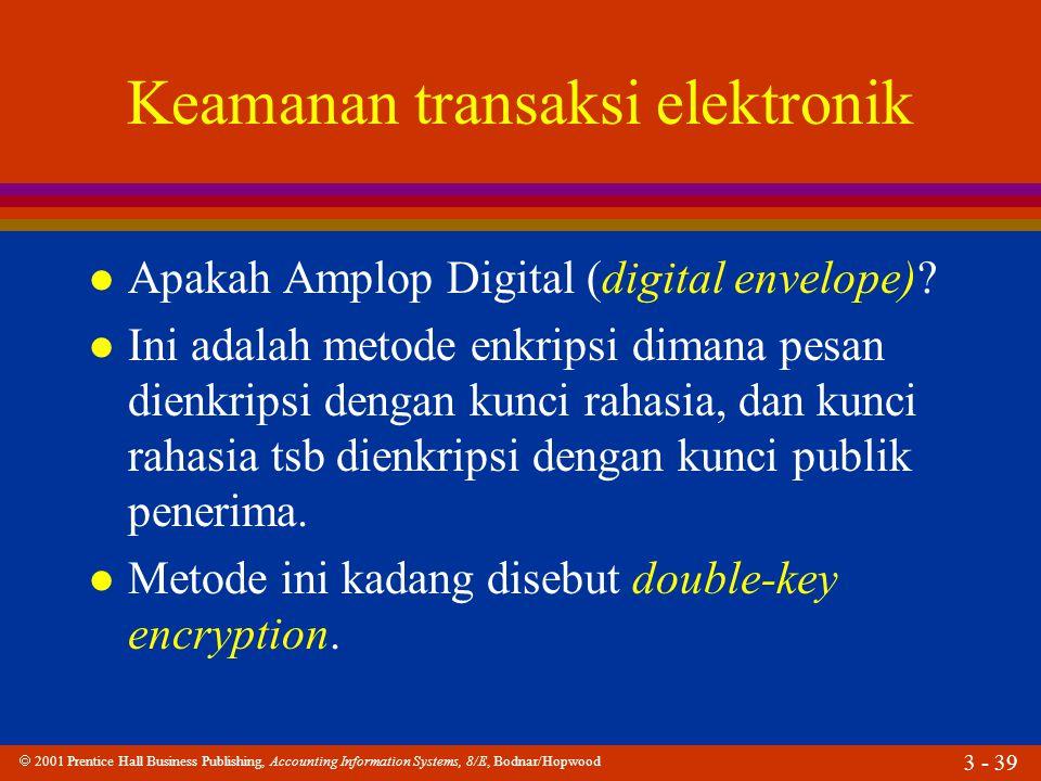  2001 Prentice Hall Business Publishing, Accounting Information Systems, 8/E, Bodnar/Hopwood 3 - 39 Keamanan transaksi elektronik l Apakah Amplop Digital (digital envelope).