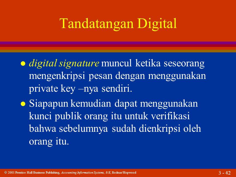  2001 Prentice Hall Business Publishing, Accounting Information Systems, 8/E, Bodnar/Hopwood 3 - 42 Tandatangan Digital l digital signature muncul ketika seseorang mengenkripsi pesan dengan menggunakan private key –nya sendiri.