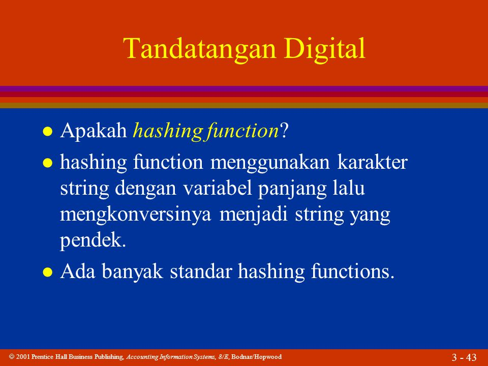  2001 Prentice Hall Business Publishing, Accounting Information Systems, 8/E, Bodnar/Hopwood 3 - 43 Tandatangan Digital l Apakah hashing function? l
