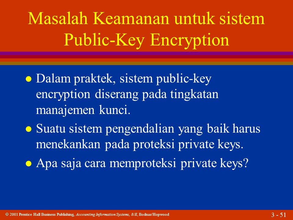  2001 Prentice Hall Business Publishing, Accounting Information Systems, 8/E, Bodnar/Hopwood 3 - 51 Masalah Keamanan untuk sistem Public-Key Encryption l Dalam praktek, sistem public-key encryption diserang pada tingkatan manajemen kunci.