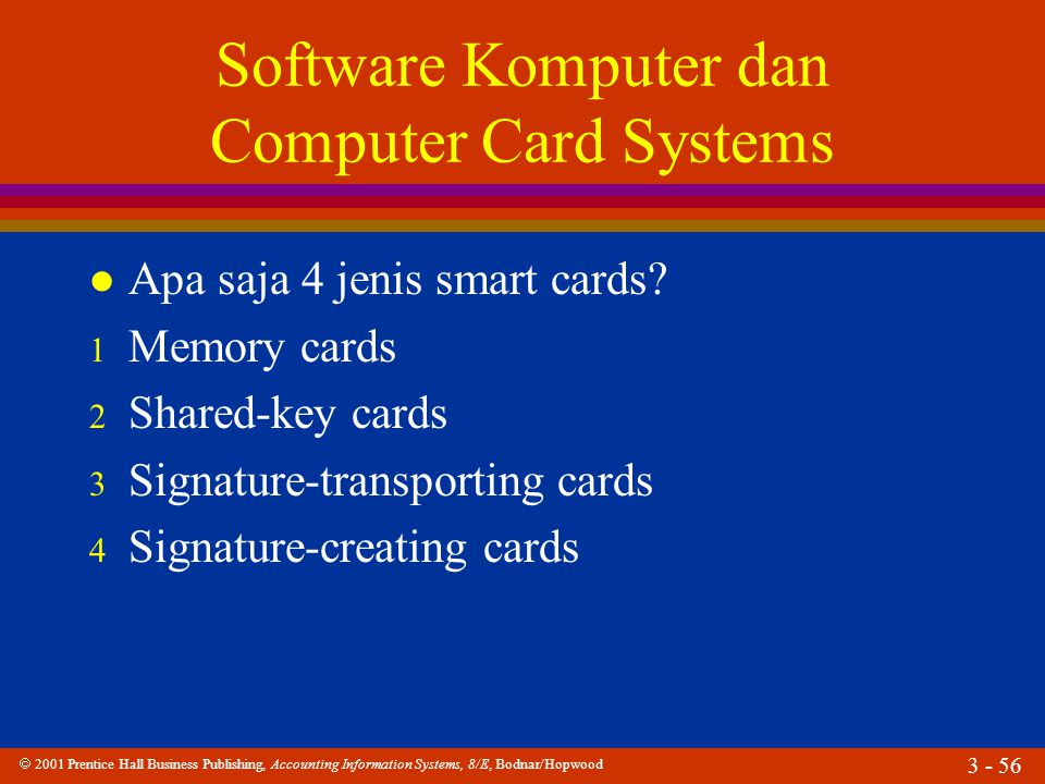 2001 Prentice Hall Business Publishing, Accounting Information Systems, 8/E, Bodnar/Hopwood 3 - 56 Software Komputer dan Computer Card Systems l Apa