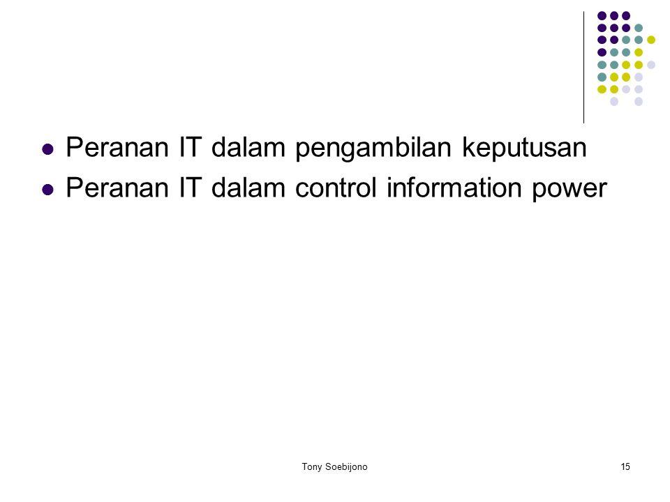 Peranan IT dalam pengambilan keputusan Peranan IT dalam control information power 15Tony Soebijono