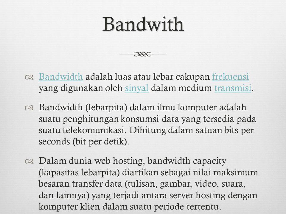 Bandwith  Di dalam jaringan Komputer, Bandwidth sering digunakan sebagai suatu sinonim untuk data transfer rate yaitu jumlah data yang dapat dibawa dari sebuah titik ke titik lain dalam jangka waktu tertentu (pada umumnya dalam detik).