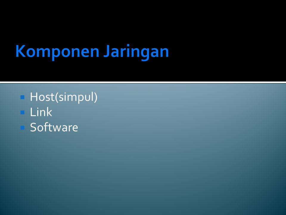 Komponen Jaringan  Host(simpul)  Link  Software