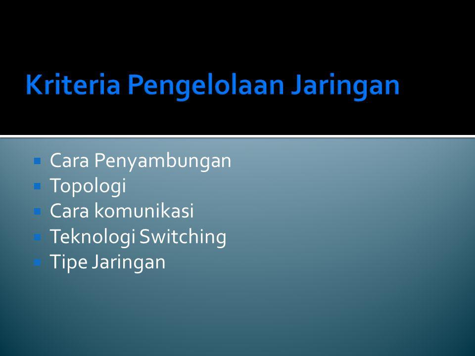 Kriteria Pengelolaan Jaringan  Cara Penyambungan  Topologi  Cara komunikasi  Teknologi Switching  Tipe Jaringan