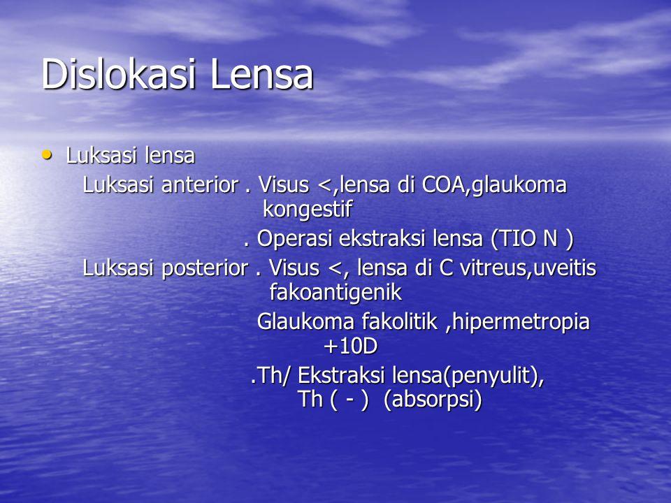 Dislokasi Lensa Luksasi lensa Luksasi lensa Luksasi anterior. Visus <,lensa di COA,glaukoma kongestif Luksasi anterior. Visus <,lensa di COA,glaukoma