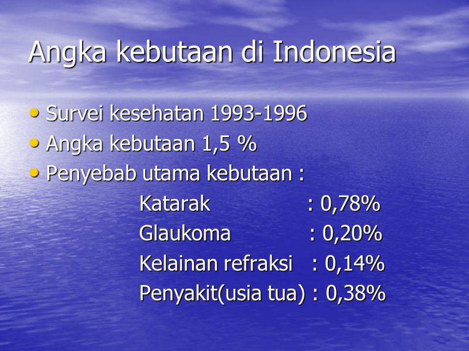 Angka kebutaan di Indonesia Survei kesehatan 1993-1996 Survei kesehatan 1993-1996 Angka kebutaan 1,5 % Angka kebutaan 1,5 % Penyebab utama kebutaan : Penyebab utama kebutaan : Katarak : 0,78% Katarak : 0,78% Glaukoma : 0,20% Glaukoma : 0,20% Kelainan refraksi : 0,14% Kelainan refraksi : 0,14% Penyakit(usia tua) : 0,38% Penyakit(usia tua) : 0,38%