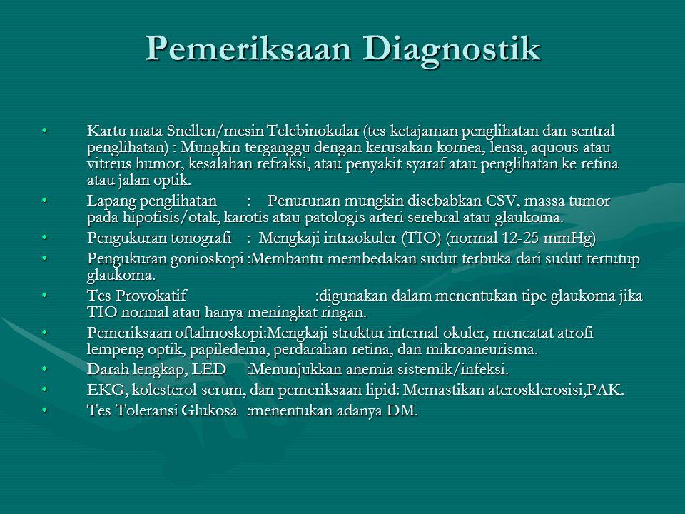 Pemeriksaan Diagnostik Kartu mata Snellen/mesin Telebinokular (tes ketajaman penglihatan dan sentral penglihatan) : Mungkin terganggu dengan kerusakan