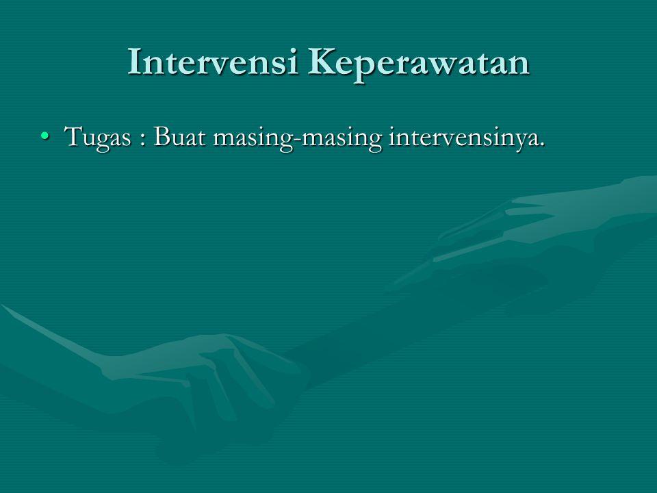 Intervensi Keperawatan Tugas : Buat masing-masing intervensinya.Tugas : Buat masing-masing intervensinya.