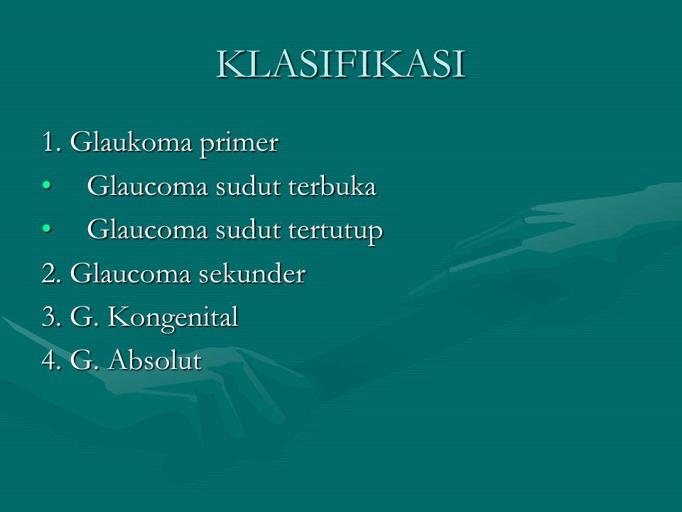 KLASIFIKASI 1. Glaukoma primer Glaucoma sudut terbukaGlaucoma sudut terbuka Glaucoma sudut tertutupGlaucoma sudut tertutup 2. Glaucoma sekunder 3. G.