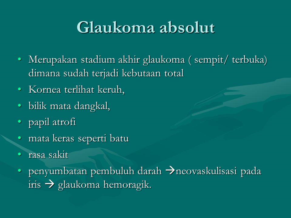 Glaukoma absolut Merupakan stadium akhir glaukoma ( sempit/ terbuka) dimana sudah terjadi kebutaan totalMerupakan stadium akhir glaukoma ( sempit/ ter
