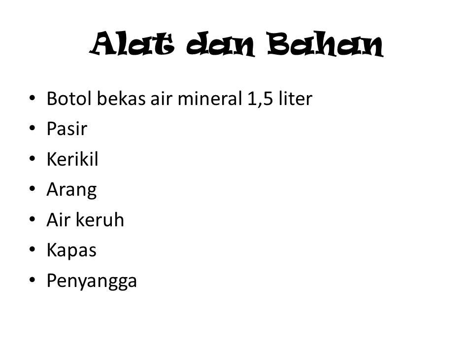 Alat dan Bahan Botol bekas air mineral 1,5 liter Pasir Kerikil Arang Air keruh Kapas Penyangga