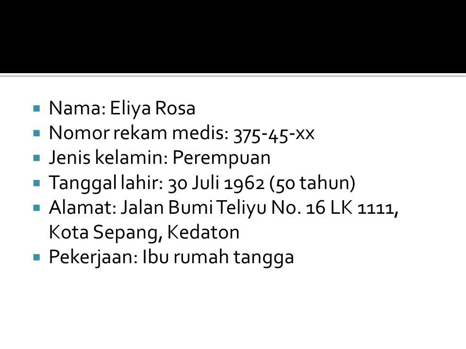  Nama: Eliya Rosa  Nomor rekam medis: 375-45-xx  Jenis kelamin: Perempuan  Tanggal lahir: 30 Juli 1962 (50 tahun)  Alamat: Jalan Bumi Teliyu No.