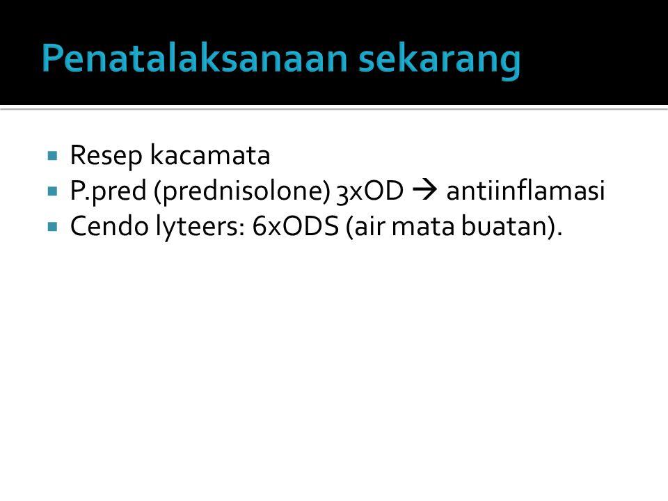  Resep kacamata  P.pred (prednisolone) 3xOD  antiinflamasi  Cendo lyteers: 6xODS (air mata buatan).
