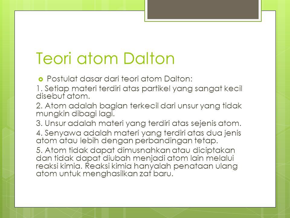 Teori atom Dalton  Postulat dasar dari teori atom Dalton: 1. Setiap materi terdiri atas partikel yang sangat kecil disebut atom. 2. Atom adalah bagia