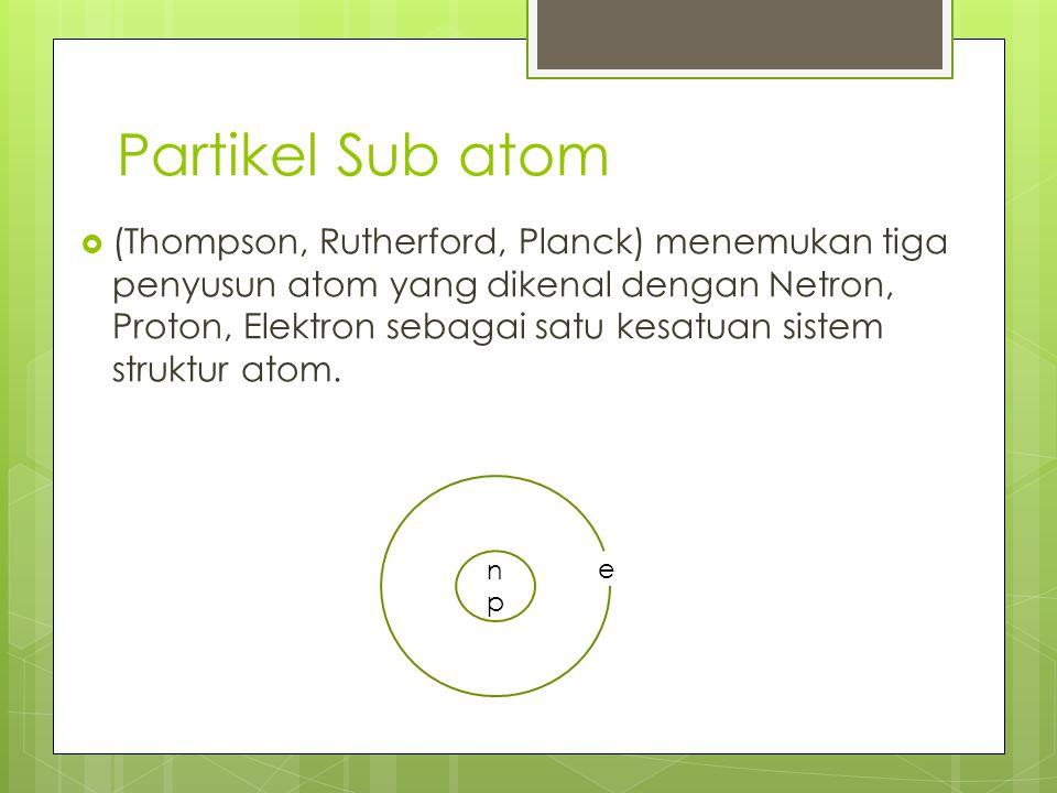 Partikel Sub atom  (Thompson, Rutherford, Planck) menemukan tiga penyusun atom yang dikenal dengan Netron, Proton, Elektron sebagai satu kesatuan sis
