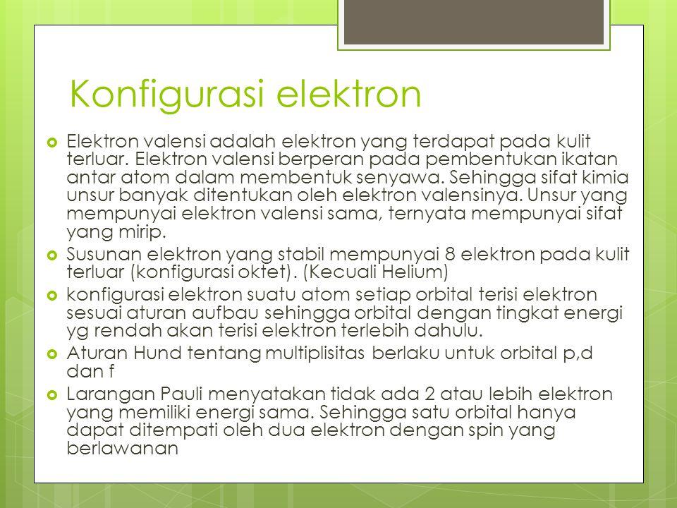 Konfigurasi elektron  Elektron valensi adalah elektron yang terdapat pada kulit terluar. Elektron valensi berperan pada pembentukan ikatan antar atom