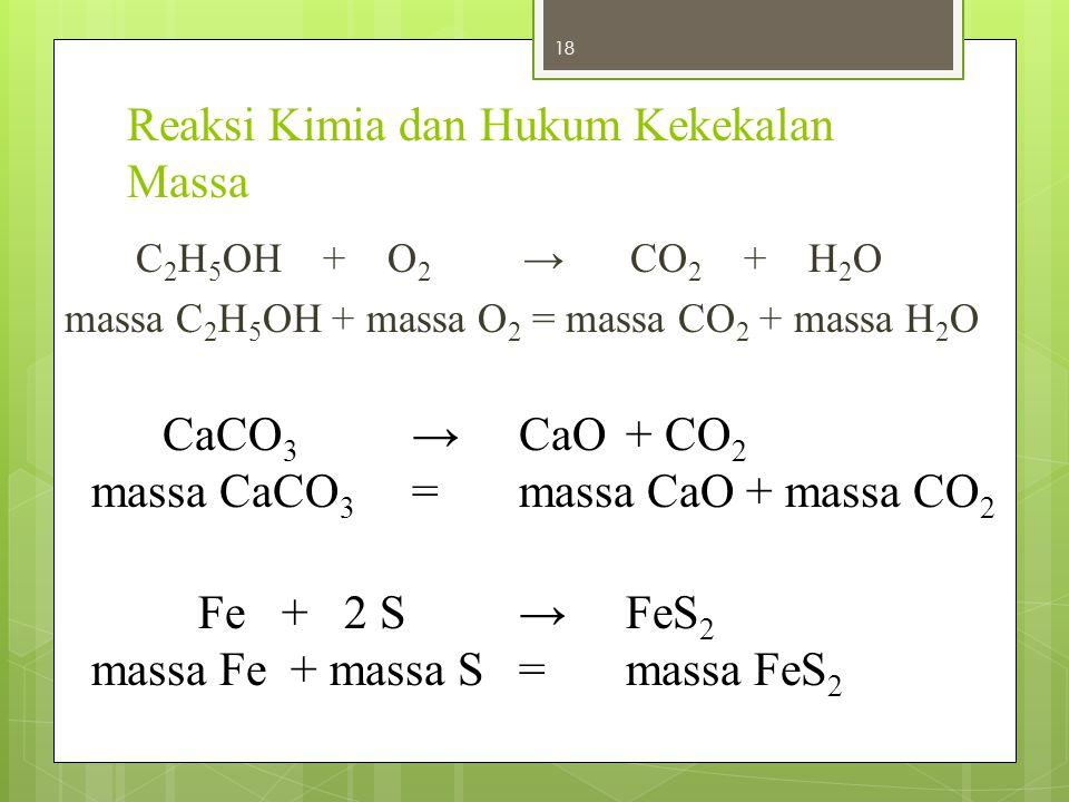 Reaksi Kimia dan Hukum Kekekalan Massa C 2 H 5 OH + O 2 → CO 2 + H 2 O massa C 2 H 5 OH + massa O 2 = massa CO 2 + massa H 2 O 18 CaCO 3 →CaO+ CO 2 ma